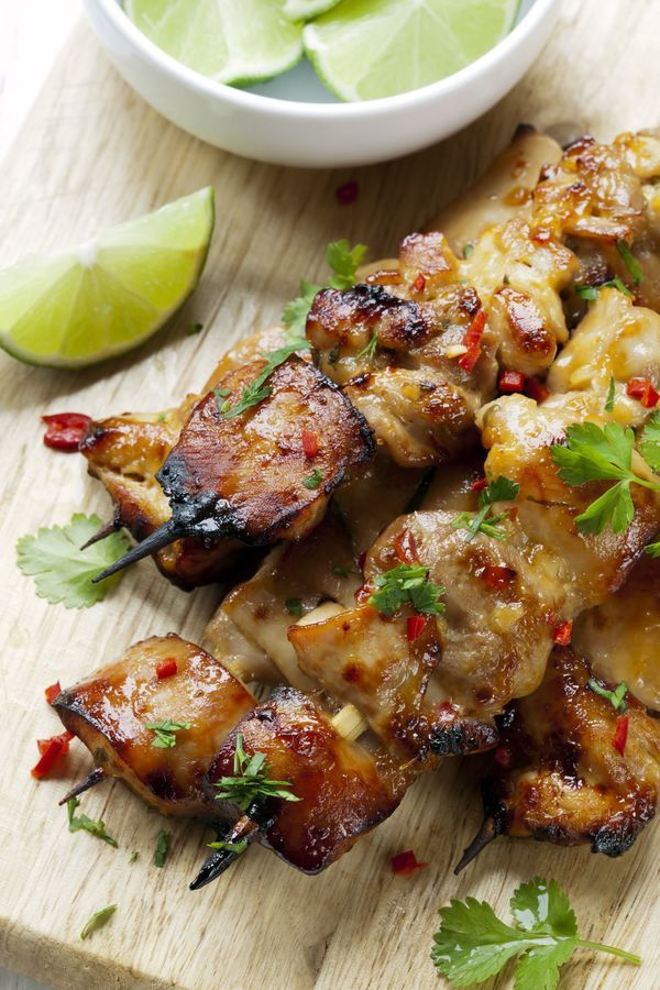 Light Asian Recipe: Healthy Thai Coconut Chili Chicken Skewers