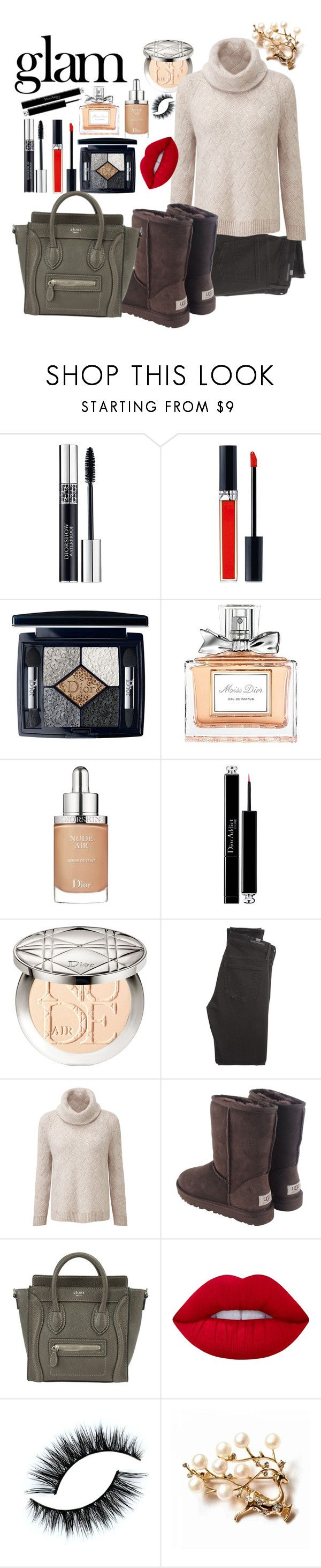 """""""Senza titolo #256"""" by hilary180491 ❤ liked on Polyvore featuring beauty, Naeem Khan, Christian Dior, Citizens of Humanity, UGG Australia, CÉLINE and Lime Crime"""