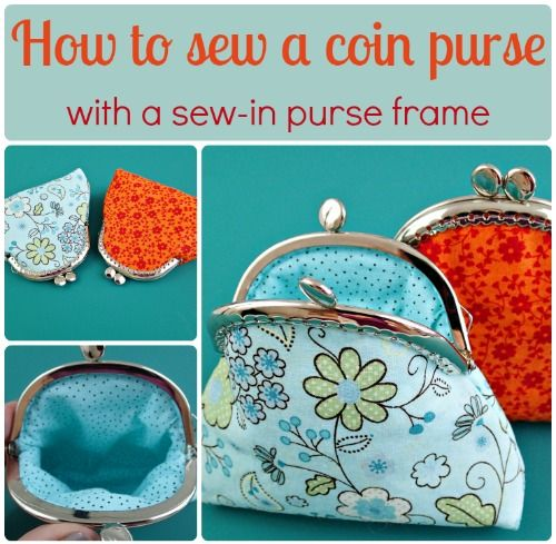 Pattern and tutorial for how to sew a coin purse using a sew-in purse frame. Nice and simple style for beginners, this is an easy coin purse pattern to sew.