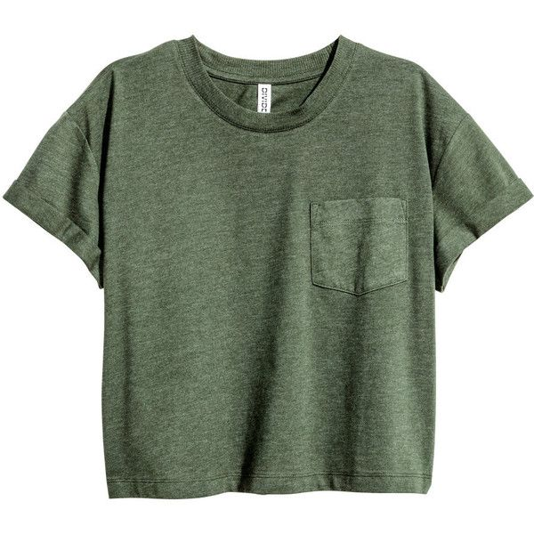 Short T-shirt $9.99 (€8,76) ❤ liked on Polyvore featuring tops, t-shirts, shirts, crop tops, short shirts, tee-shirt, t shirt, green shirt and long-sleeve crop tops
