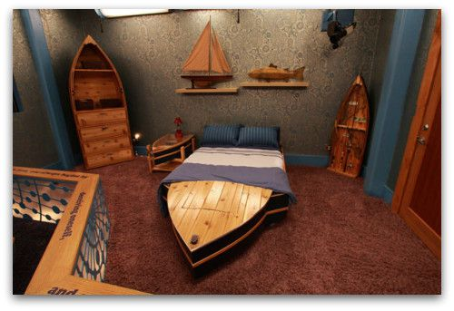 nautical furniture, boat bed, boat shelves
