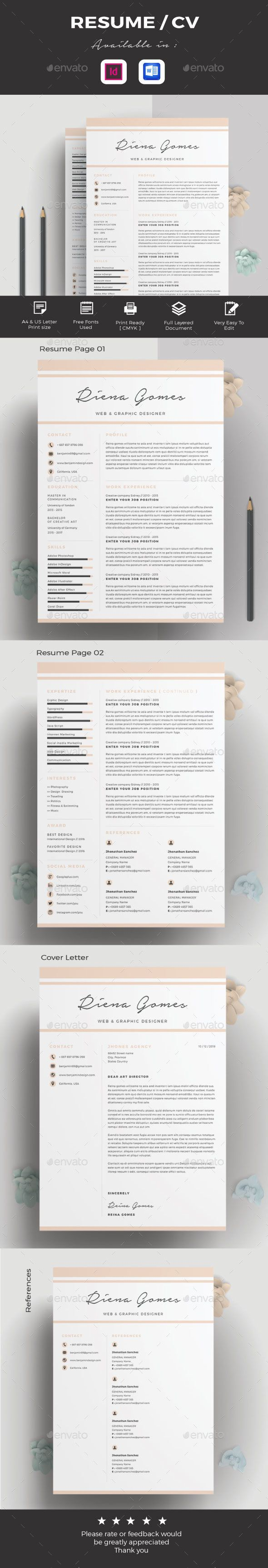 Resume / CV, Cv/Resume This is a professional and clean Resume template that can be used for any type of Resume and fully editable and customizable.This template is Super Easy to Edit. You can quickly tailor make your job resume for any opportunity and help you to get your job. This resume is available in the format InDesign CS 4, CS 5, CS 6 and Mi