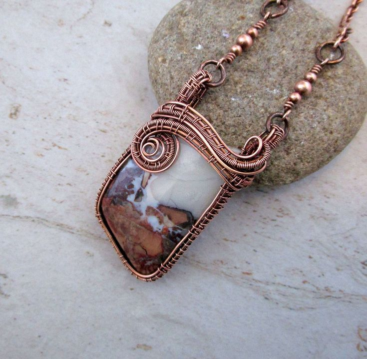 Wire Wrapped Pendant - Mother's Day - 7th Anniversary Present - Crazy Lace Agate - Most Sold Item - Cottage Chic - Fearless Creations by FearlessCreationsbyJ on Etsy