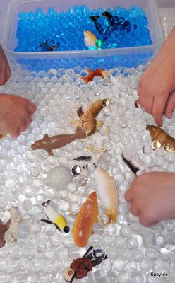 winter animals sensory table so can get these beads at the dollar store