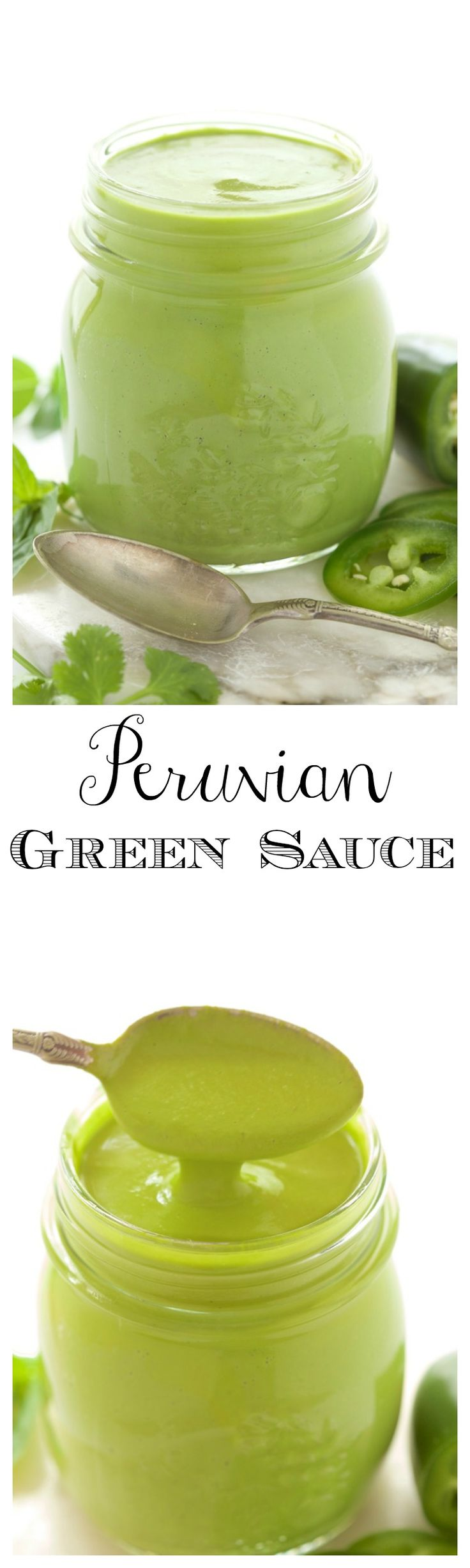 Peruvian Green Sauce - a fresh, vibrant sauce that's fabulous drizzled on anything from the grill. t's also great with potatoes, rice, drizzled on black beans as a dipping sauce for shrimp....