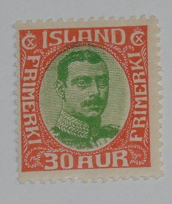Stamp Pickers Iceland 1920-22 Christian X 30a Scott #122 MH OG $57+