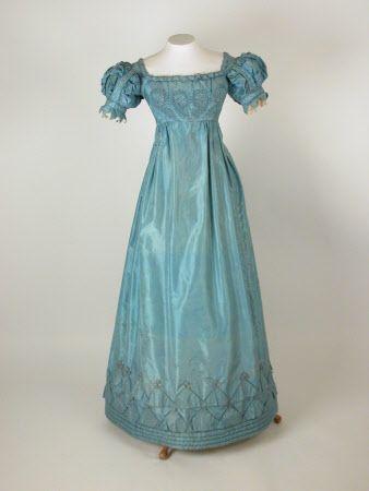 Robin's egg blue evening dress, c. 1820-1825; lace, metal, silk.