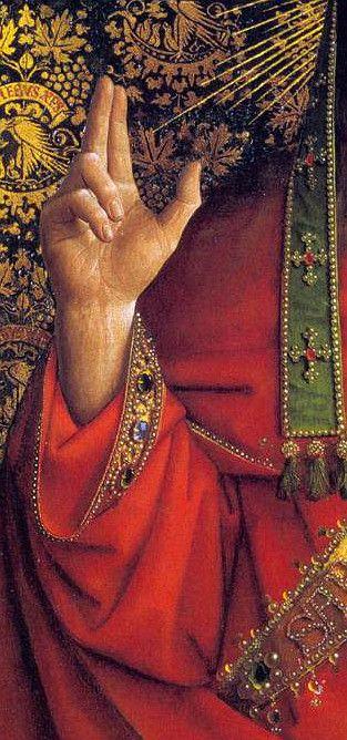 Jan van Eyck. Detalle de Dios Bendiciendo.                                                                                                                                                                                 Más