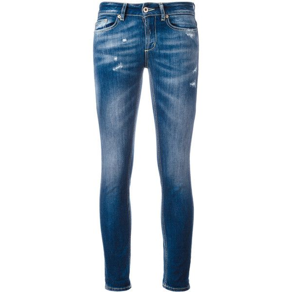 Dondup light-wash skinny jeans ($152) ❤ liked on Polyvore featuring jeans, blue, skinny fit denim jeans, dondup, dondup jeans, light wash skinny jeans and cut skinny jeans