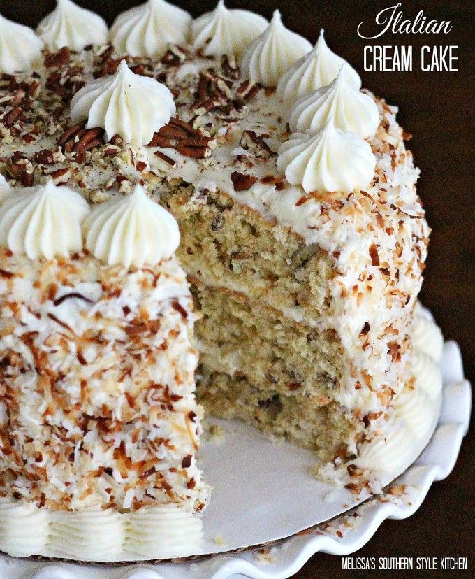 dessert recipes with peanut butter, asian dessert recipe, holiday dessert recipe - Italian Cream Cake. My favorite cake to make for Christmas. Insanely good.