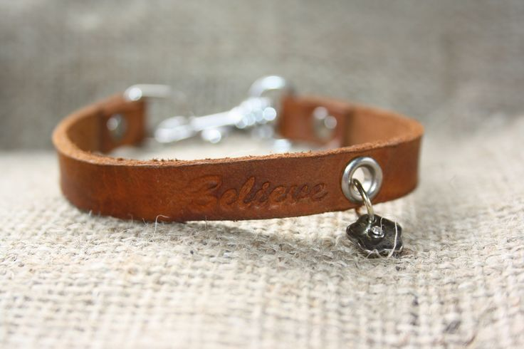 """3/8"""" hand crafted leather bracelet with charm and spring snap closure.  http://shop.sydenhamhillfarm.ca/products/believe-bracelet"""