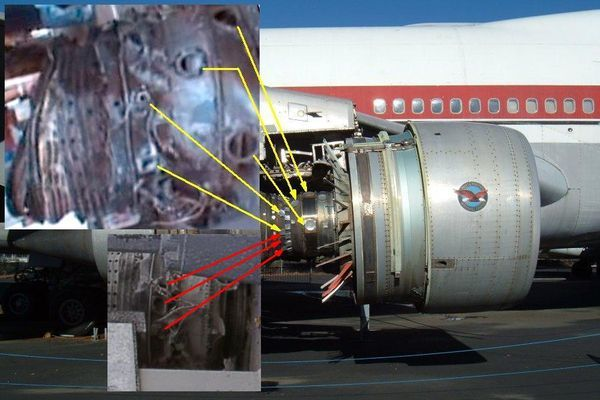 United Airlines Flight 175 struck the South Tower. Its tail number was N162UA. It was a Boeing 767-222 http://aviation-safety.net/database/record.php?id=20010911-1 Flight 175 had two Pratt and Whitney JT9D-7R4D engines. http://206.18.175.32/Media/boeing767industrydat-1005-1010.pdf American Airlines Flight 11 struck the North Tower. Its tail number was N334AA. It was a Boeing 767-222ER. Flight 11 had two General Electric CF6-80A2 engines. http:/...