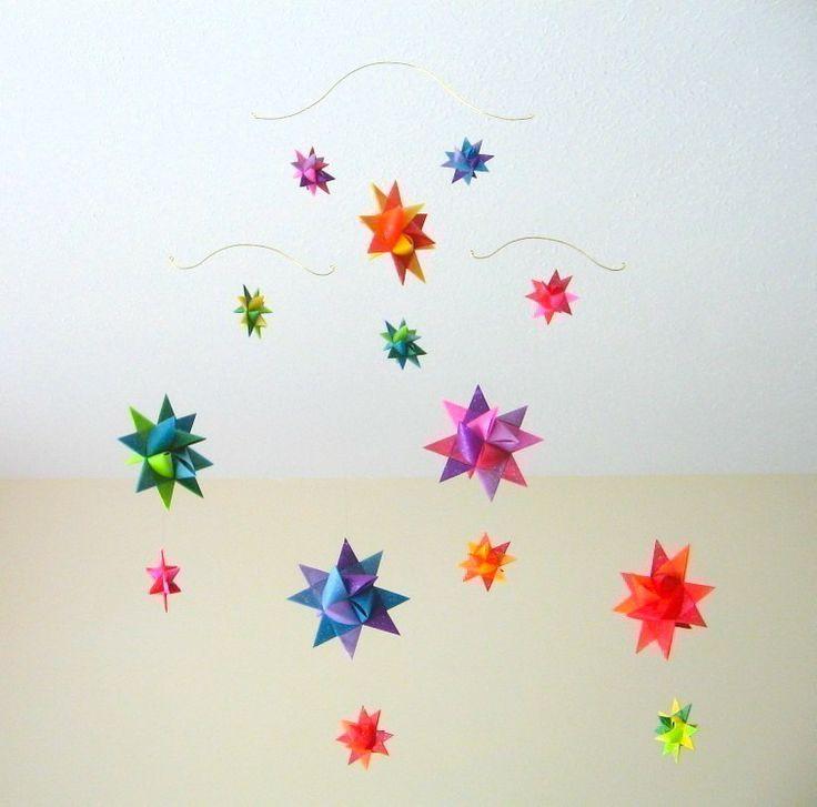 baby crib mobile origami paper stars rainbow