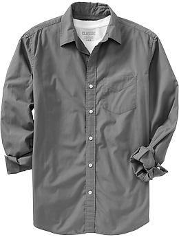 Men's Regular-Fit Poplin Shirts | Old Navy