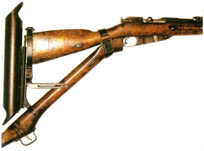 Modrakh Device; Russian version of the periscope rifle conversion designed by Lt. Colonel Modrakh. During WW1 many countries experimented and used this kind of trench rifles.