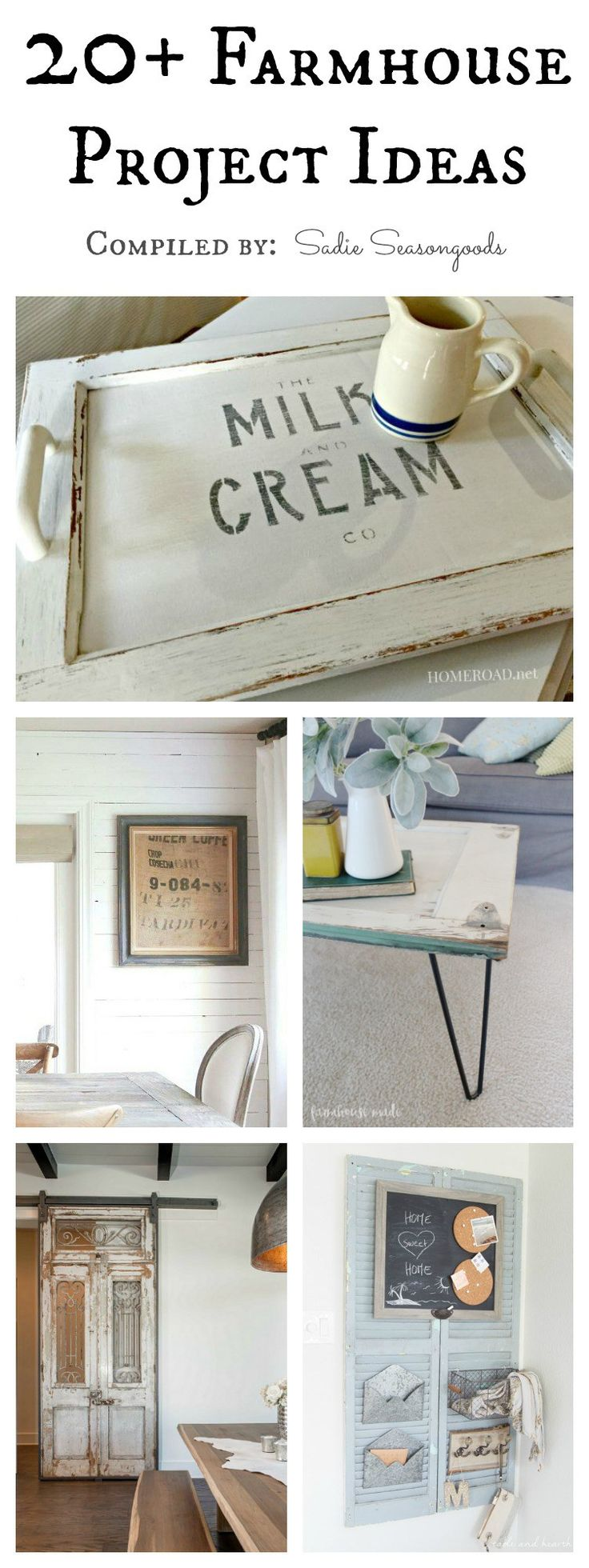 DIY Repurpose and Upcycle projects to help you get the Fixer Upper Farmhouse style look for your home as compiled by Sadie Seasongoods / www.sadieseasongoods.com