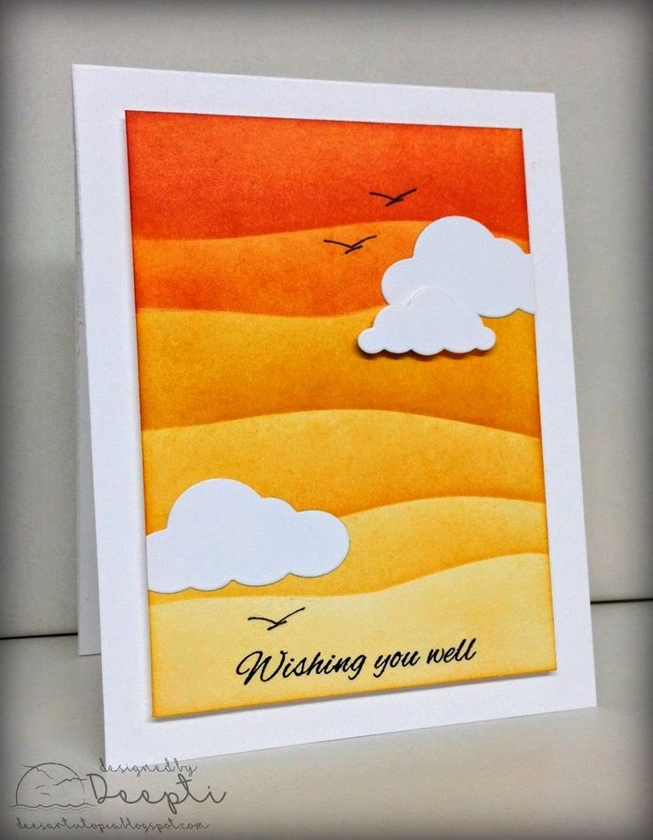 hand crafted card from Dee's Art Utopia ... luv the  impressionistic scene with landsape lines in ombré layers of oranges ... die cut white clouts and a couple of soaring birds ... delightful!!