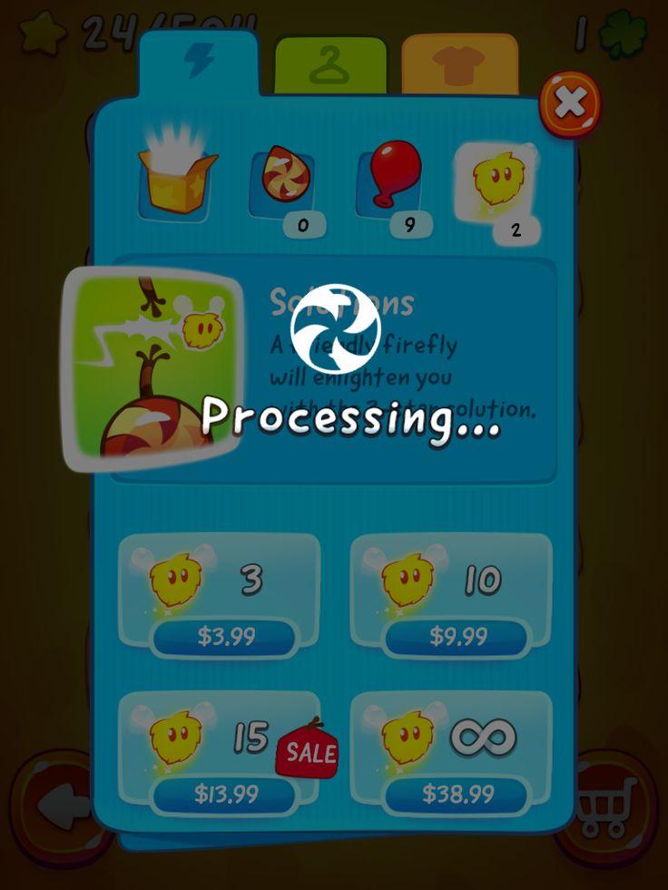 CUT the ROPE 2   IAP Purchase in Progress   UI, HUD, User Interface, Game Art, GUI, iOS, Apps, Games, Grahic Desgin, Puzzle Game, Brain Games, Zeptolab   www.girlvsgui.com
