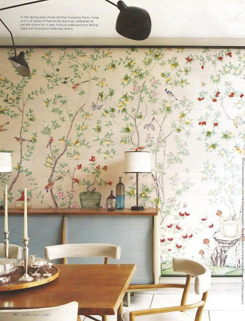 gorgeous de Gournay wallpaper beautifully framed.  genius way to bring wallpaper from home to home.