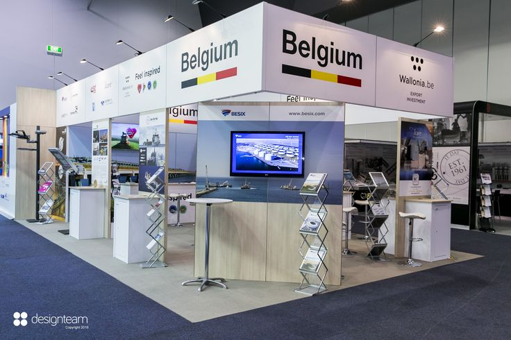 BELGIUM PAVILION @ AOG Wallonian companies promote their capabilities to the global oil and gas industry within the Belgium pavilion. Individual exhibitors use a joint meeting and hospitality area for discussing prospective projects. #Exhibition #design #AOG #Belgium