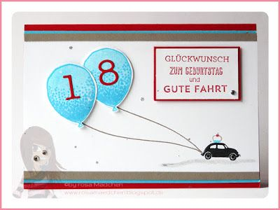 Stampin' Up! rosa Mädchen: Geburtstagskarte zum Führerschein mit Auf und davon, Itty Bitties, Partyballons und Eins für alles