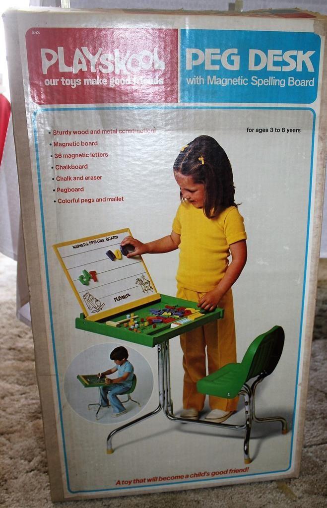 Playskool Peg Desk with Magnetic Spelling Board, 70's ...