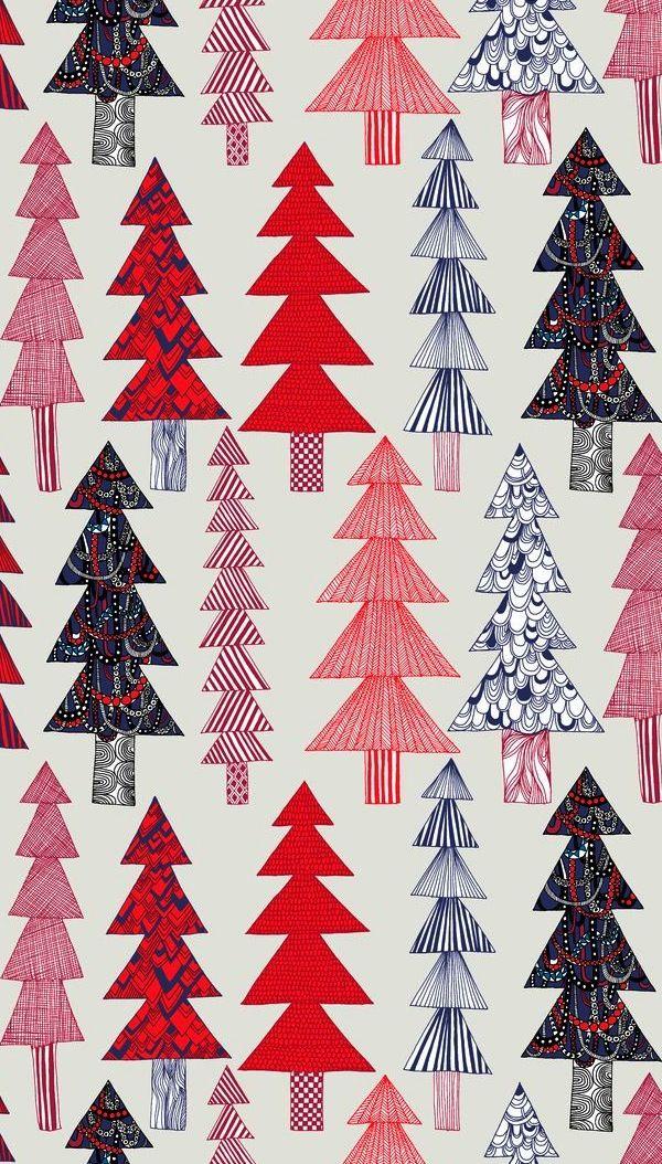 Christmas tree inspired the range of whimsical illustrations on Marimekko's Kuusikossa fabric