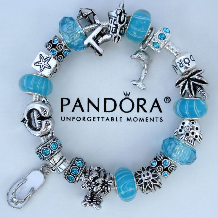 Blue and green pandora bracelet