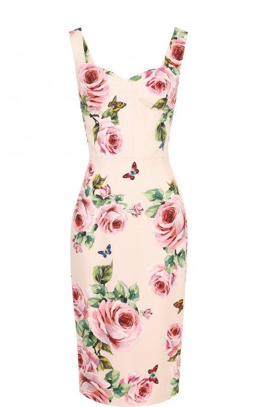 Женское розовое приталенное платье-миди с цветочным принтом DOLCE & GABBANA — купить за 107500 руб. в интернет-магазине ЦУМ, арт. F67J2T/FSRI3