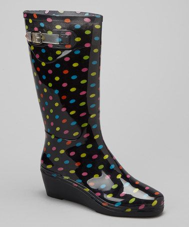 Another great find on #zulily! Black & Green Polka Dot Wedge Rain Boot #zulilyfinds: