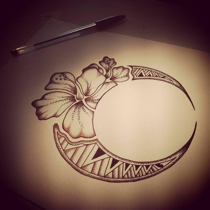Hawaiian Flower Moon Tattoo Design