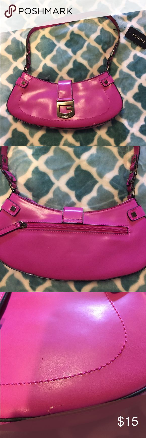 MUST GO! Magenta Guess bag MAKE AN OFFER! Small Guess bag...great magenta color...brand new with tag...some scratches but not too noticeable still a great bag Guess Bags Shoulder Bags