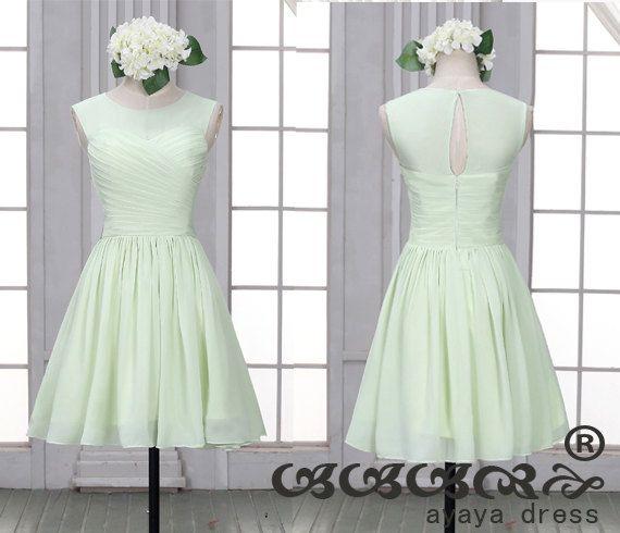 Kurze Brautjungfer Kleid Minze Brautjungfernkleider von ayayadress