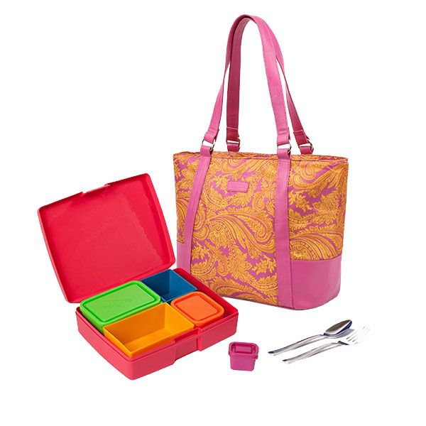 This kit combines our garden bento lunch box with Sachi's Paisley, insulated Roomy Lunch Tote. This tote has a compartment for your bento lunch box, an addtional compartment for your laptop, books and magazines, and an outer compartment for wallet, keys, sunglasses and cell phone! $47.99