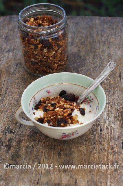 Une recette de granola maison très facile à faire pour choisir ce que l'on veut mettre dans son bol de petit déjeuner du matin Y'a pas à dire, le granola fait maison c'est terriblement bon et en plus pendant sa préparation, une douce odeur envahie la maison. C'est grâce à Requia que je suis passéeEn savoir plus