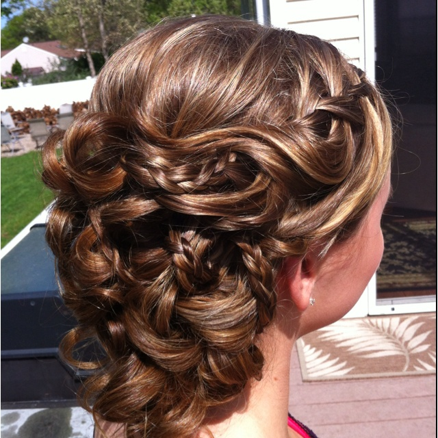 Waterfall braid with curls all up......