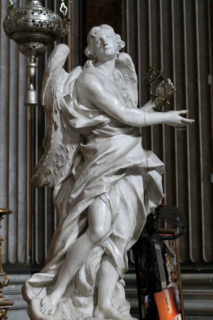"""Angels"" (c.1748), Sculpted by Pietro Bracci (1700–1773), 2 of 2 sculptured angels, Collegio Romano e St. Ignatius, Rome, Italy. #angels"