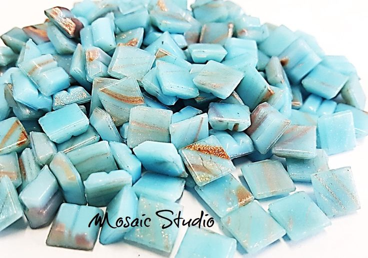 Baby Blue Gold Thread Tiles 10x10x4mm x100pc by MosaicStudio1 on Etsy
