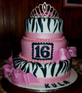 Sweet 16 Cakefirst 3 Tier Cake 16th Birthdaycake Zebrastrippes And Pink Bow