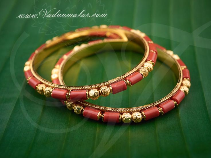 Coral bangles set in micro gold plating pavalam bangle