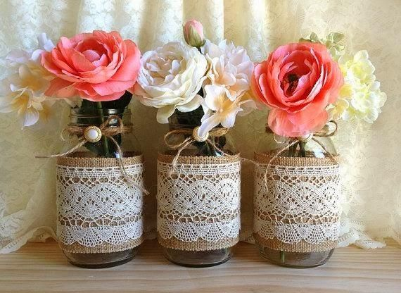 Love these jars, gorgeous centre piece with flowers to match the colour scheme.