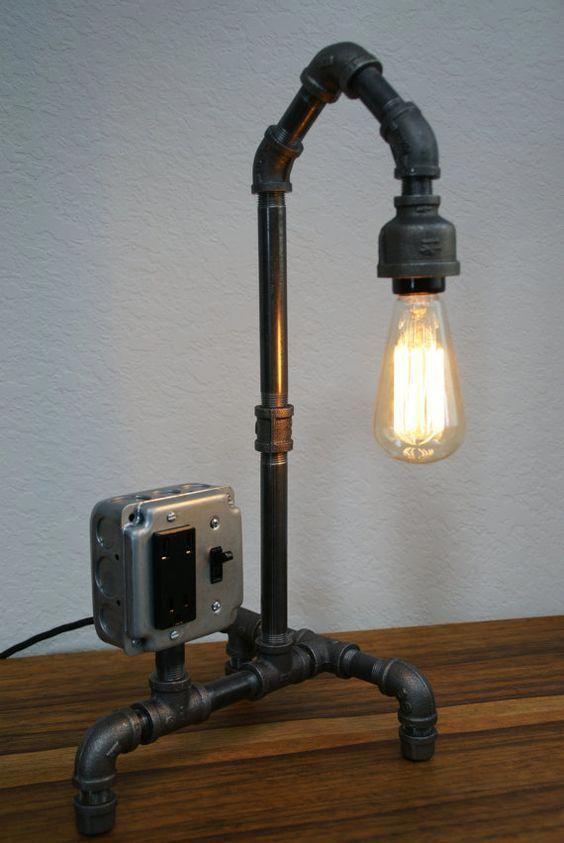 Vintage Style Iron Pipe Desk Lamp w/USB by IronLumberandLight, $169.00 #Lamps