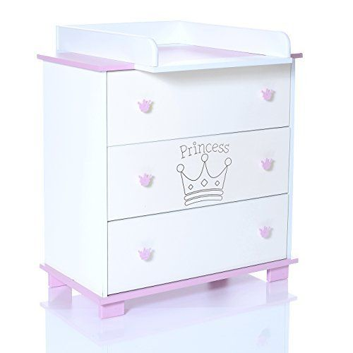 awardpedia   £119.99 Baby Changing Chest Princess - Nursery Furniture Changer Unit With 3 Drawers - Baby Changing Table Removeable [Baby Product]