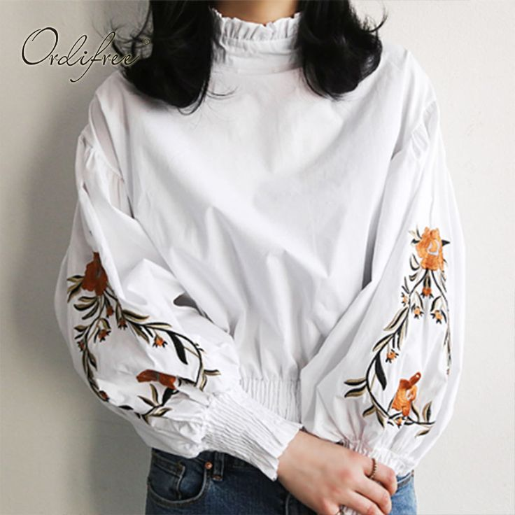 Ordifree 2017 Autumn Summer Women White Shirt Floral Embroidered Blouse Long Sleeve Flower Embroidery Black Female Blouse Shirt #Affiliate