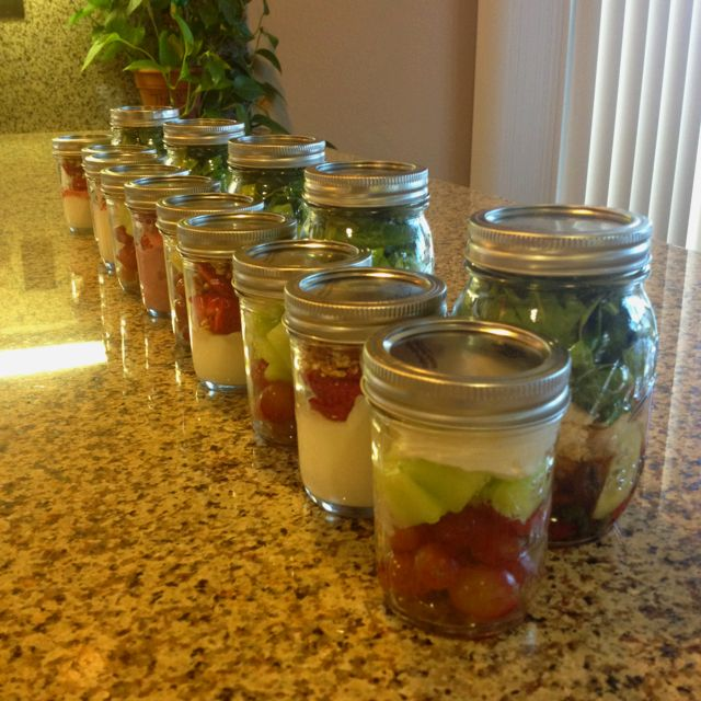 A weeks worth of breakfasts, lunches, and snacks. Mason jar meals!