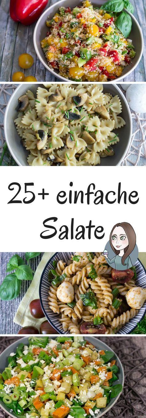 Viele einfache Salat Rezepte mit unterschiedlichen Zutaten: Nudelsalat, Couscoussalat, Kartoffelsalat, Quinoasalat. Mit Feta, Paprika, Lauch, Pilzen, Tomaten, Mozzarella