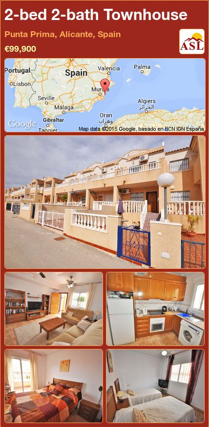 2-bed 2-bath Townhouse in Punta Prima, Alicante, Spain ►€99,900 #PropertyForSaleInSpain