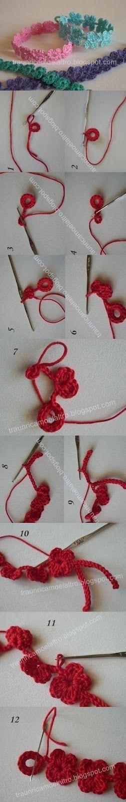 Receitas de Trico e Croche: Receita pulseira em crochê