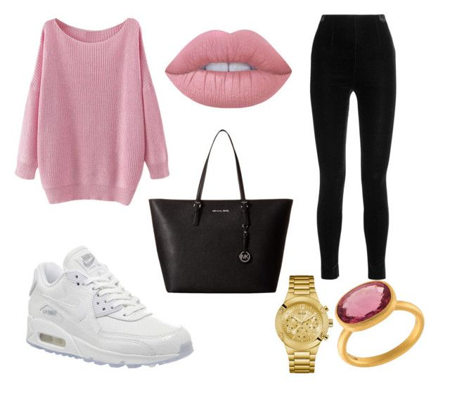 Untitled #2 by terka-zelenkova on Polyvore featuring polyvore, fashion, style, Balmain, NIKE, MICHAEL Michael Kors, Marie Hélène de Taillac, GUESS, Lime Crime and clothing