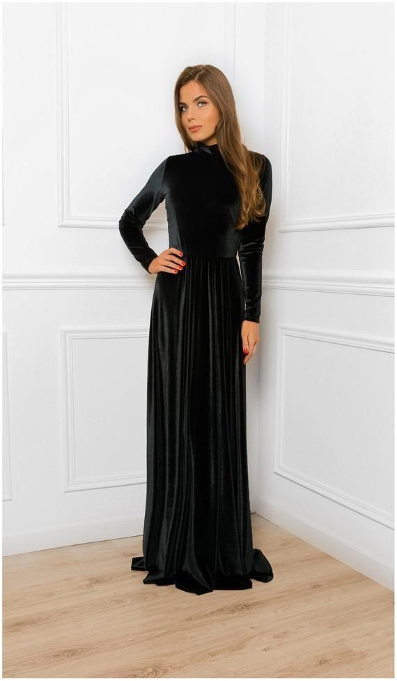 Keyhole Back Velvet A Line Maxi Dress With Mock Neck Long